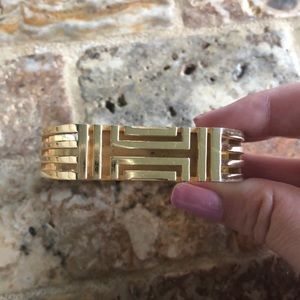 Tory Burch Fitbit Metal Hinged Bracelet - Gold